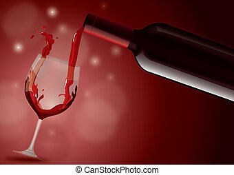Red Wine - Red wine filling glass