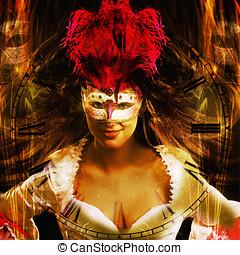 mulher, ano, mascarado, fundo, Novo, Partido
