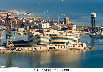 Aerial view of World Trade Center in Barcelona, Spain