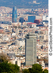 Aerial view of Barcelona from Montjuic