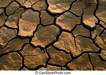 Cracked lifeless soil - Cracked by the heat long lifeless...