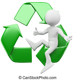 3D man with the recycling symbol - 3D man sitting in the...
