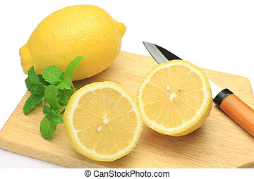 lemon and knife - I attach a knife to the lemon which I cut...