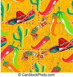 Mexican icons pattern - Mexican pattern with cactus, hat,...