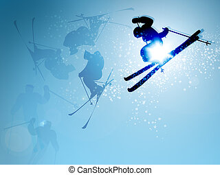 2d illustration ski jumping in mid-flight on blue sky...