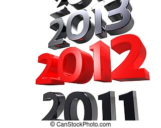3d illustration of the new year as the years march on white background