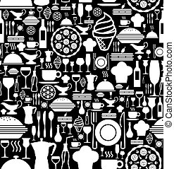 Gourmet icon set pattern - Black and white gourmet icon set...