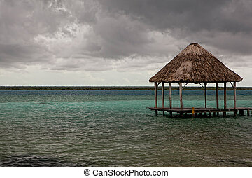 Beatiful bungalo on summer Mexican bay in Chetumal city