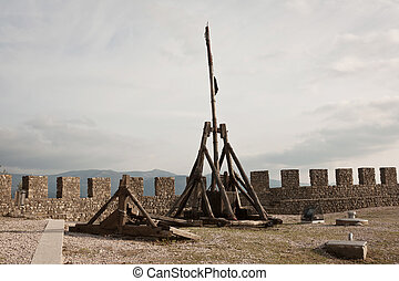 Old Catapult - Old wooden catapult on top of Castle in...