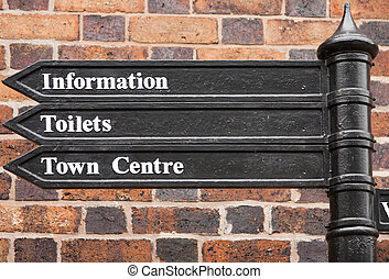 Direction Sign - Direction sign to Town Centre, Toilets and...