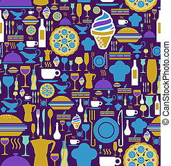 Gourmet icon set seamless pattern.