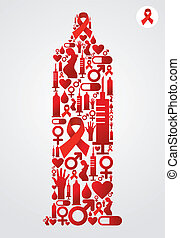 Condom symbol with AIDS icons - Condom silhouette made with...