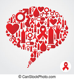 AIDS icons in communication bubble silhouette - HIV icons...