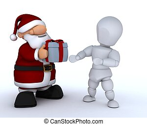 white character and santa claus