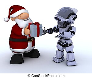 robot and santa claus