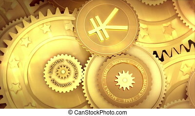 working japan Yen currency symbol - Gold mechanism. Metaphor...