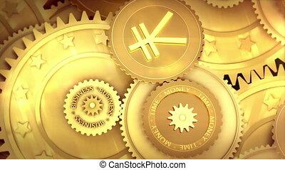 working japan Yen currency symbol - Gold mechanism. Metaphor...