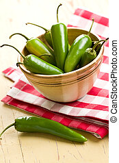 Jalapenos Chili Peppers on kitchen table