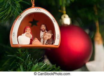 Christmas crib nativity - Christmas nativity scene with...