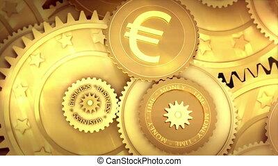 working Euro currency symbol - Gold mechanism Metaphor Stock...