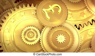 working English pound currency - Gold mechanism. Metaphor...