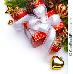 Natal, cartão, PRESENTE, caixas, Natal,...