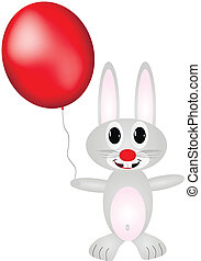 Hare with red balloon