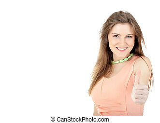 Young woman showing thumbs up sign against white background