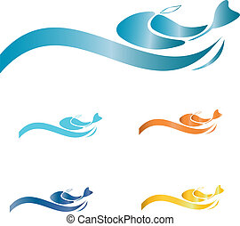 Fish with waves logo  - Fish with waves creative design