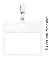 Blank badge or ID pass isolated on white background,...