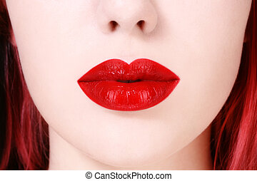 Red lips - Close-up shot of beautiful full woman lips with...