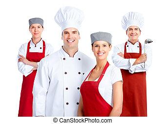 Chef, grupo, cocina