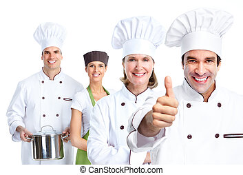 Chef group Cooking Isolated over white background
