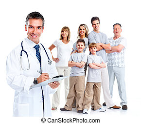 Family doctor and patients. Health care. Isolated over white...