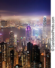 Hong Kong at night - An arial view over the Hong Kong...