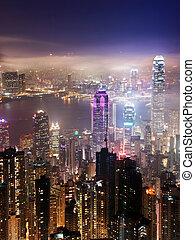Hong Kong at night - An arial view over the Hong Kong...