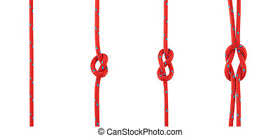 Set of Knots Tied in Red Rope Isolated on White