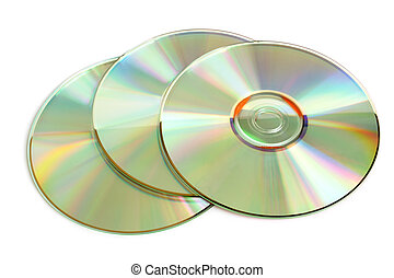 Three cd  isolated on a white background
