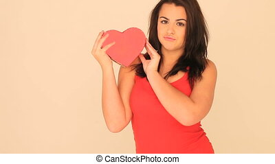Valentines Woman Holding Heart-shap