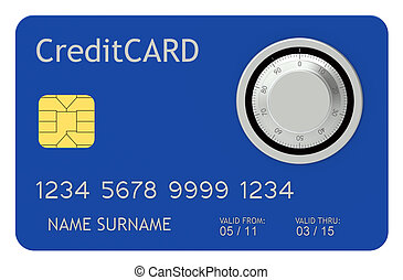 Safe Pay - Blue Credit Card with combination lock.