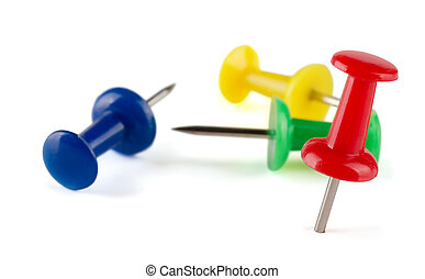 Push pins - Colorful push pins isolated on white
