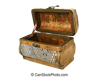 Old casket from birch bark isolated on the white background