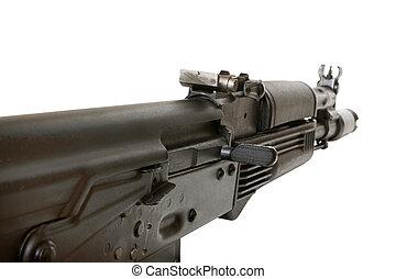 Kalashnikov AK-105 machine gun isolated on the white...