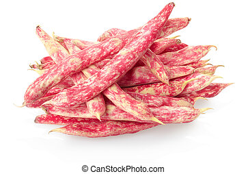 Red beans - Red bean pod heap isolated on white, clipping...