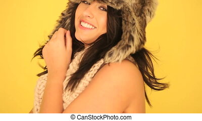 Smiling Sexy Woman In Winter Outfit