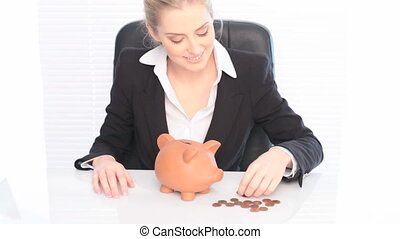 Smiling Businesswoman And Her Piggy