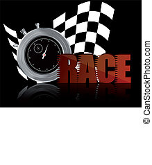 race chronometer - illustrator of race text with chronometer...