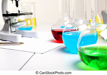 Chemistry laboratory equipment and glass tubes - Image of...