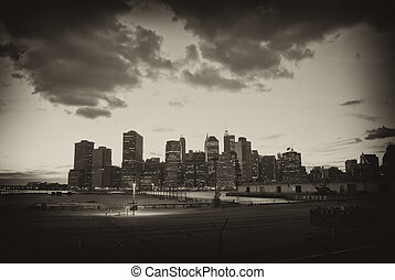 Night View of Manhattan - View of Manhattan from Queens, New...