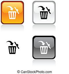 Delete button - Delete glossy square vibrant buttons